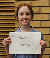 Nia Boggs received the  CWA Award for Academic Achievement for Year 8