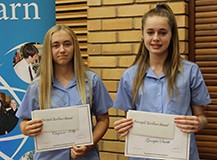 Cheyenne Kelly & Georgia Smith received the Principals Excellence Awards for Year 8