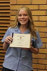 Faith Hanstock received the Bob Aitken Award awarded to a junior student for contributions to community service.