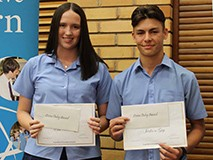 Ella Morrissey & Jackson Guy received the Steven Onley Award for Science in Year 10 and the Principal's Award for Year 10