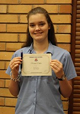 Rachel Ostler received the Principals Excellence Award for Year 9.